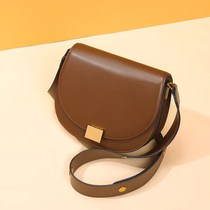 Female bag new casual messenger bag shoulder shoulder strap saddle bag semicircle female bag two layers of leather