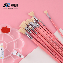 S858 morpass fan pen water chalk set oil pen bristles hard brush umbrella pen fish tail fan pen cherry pink pole student art exam watercolor paint acrylic paintbrush single