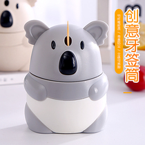 Hand pressure automatic pop-up cartoon koala creative toothpick box toothpick tube home portable portable hotel restaurant home
