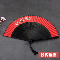 Womens portable fans Chinese style ancient folding fan Japanese and Han costumes costumes dancing small folding fan