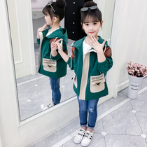 Girls windbreaker coat spring and autumn loaded 10 years old children 12 western 8 hooded 9 little girl 6 autumn 7 trendy jacket