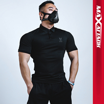 MAXATTACK sports POLO shirt mens quick-drying tight-fitting short-sleeved personal fitness trainer overalls embroidery lapel