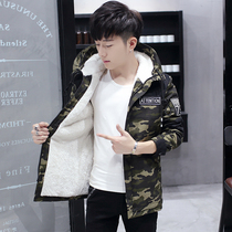 Coat male plus velvet thick student jacket camouflage slim in the long section of the windbreaker male handsome wild winter cotton clothes