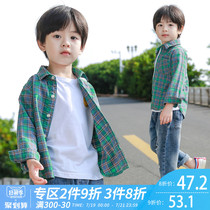 Boys shirt long-sleeved 2019 New plaid cotton childrens shirt autumn summer thin section spring and autumn childrens shirt