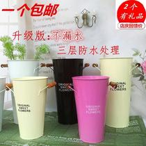 Metal spray plastic flower vase plastic flower tube medium flower shop supplies bamboo stick tube flower bucket flower bucket iron flower bottle