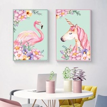 Classic DIY digital oil painting color decoration mural hanging painting coloring flamingo unicorn coloring hand-painted hand