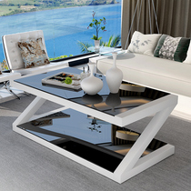 Tempered glass coffee table simple modern paint small apartment coffee table living room simple European creative personality coffee table