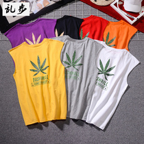 The trend of hemp leaf printing mens vest summer Japanese cotton jacket hurdle sports fitness base white T-shirt