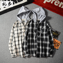 Autumn port wind hooded plaid Shirt male Korean version teen thin coat Japanese couple long-sleeved shirt