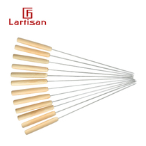 Wooden handle stainless steel grilled needle barbecue signature grilled string round brazing family barbecue needle barbecue tool sign 12