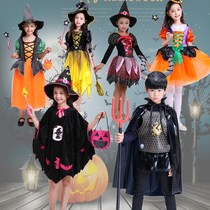 Halloween childrens clothing cosplay pumpkin light candy bag Witch Boy cloak cloak costume girls