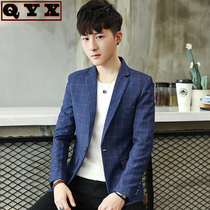 Korean version of the trend of handsome business casual small suit male youth blue plaid jacket mens suit single coat