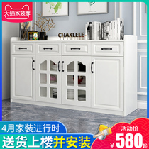 Dining cabinet modern minimalist multi-functional cabinet locker with door solid wood-plate rack cupboard tea cabinet