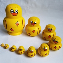 Set of Russian hot selling 10 layers of shaking sound duck pure handmade wood products holiday gift creative set toys.