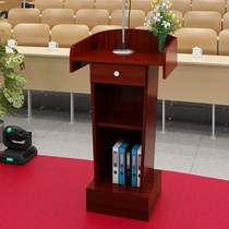 A Christian platform podium simple priest cross preaching church table church conference table