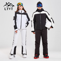 LTVT double board ski suit couple ski pants men and women single and double board waterproof thickened strap detachable