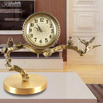 New Chinese brass clock Villa model room club decoration mute desk clock living room study office copper ornaments