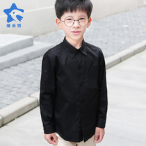 Boys polyester cotton long-sleeved black shirt childrens wear show out of the school uniforms kindergarten clothes boys black shirt plus velvet thickening