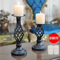 Retro wrought iron candlestick candle light dinner props romantic wedding candlestick lamp table American candlestick creative decoration