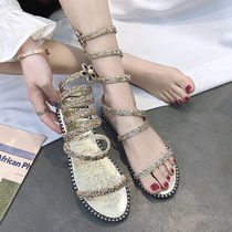 Sandals female Fairy Wind 2019 new summer Serpentine winding with rough with Roman strap shoes ins tide net red