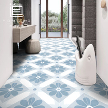 Flower brick Nordic 200x200 kitchen bathroom floor tile non-slip balcony small fresh blue with road tiles.