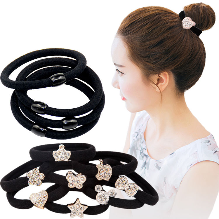 (Large and thick) rubber band adult head rope female black durable hair rope hair ring hair high elastic headpiece.