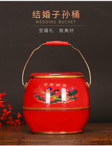 Wedding anniversary wedding supplies descendants Barrel Red imitation wood round bucket festive wedding dowry decoration ornaments