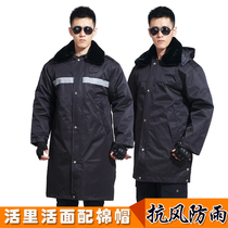 Military coat male Winter thickening in the long section of the Cold Storage Security clothing cotton coat security coat multi-function winter clothes