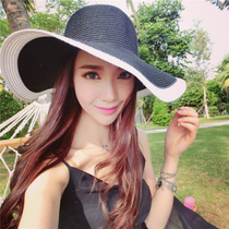 South Korean net red with the same summer outdoor seaside holiday stylish beach sun shade oversized sun-kissed folded straw hat