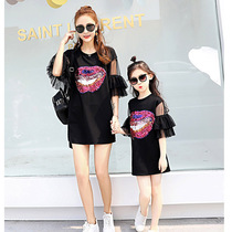 Mother and daughter dress dress lace stitching 2019 new summer Korean version of the wild Tide parent-child T-shirt short skirt tide