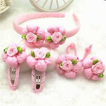 Childrens hairpin hair accessories girls hair hoop hair ring hairpin little girl Tie head rope set head flower Princess rubber band