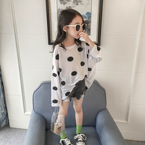 Girls T-shirt summer 2019 new large childrens style white loose wave long-sleeved compassionate childrens shirt tide
