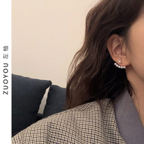 South Korea a two-wearing pearl sterling silver temperament female earrings simple net red earrings wild no pierced ear clip R440
