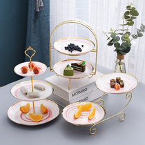 European double fruit plate creative living room multi-storey cake stand Nordic afternoon tea dessert table candy dessert tray