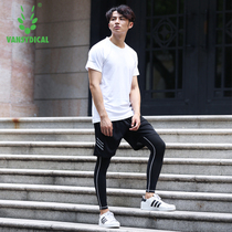 Gym sportswear suits quick-drying tights mens running clothes breathable training basketball fitness clothes three-piece