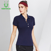 Short-sleeved lapel T-shirt womens sports shirt breathable button polo shirt womens casual simple Sports Golf compassionate