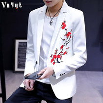 Mens personalized embroidered suit 2019 spring casual suit trend slim shirt Korean version of the spring handsome jacket