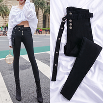 2019 autumn new net red black jeans female was thin tight high waist ring nine points feet pencil pants