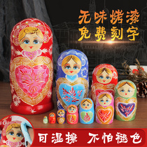 Akros authentique Basswood original authentique gift toys Matrioshka paint 10 layer 1051