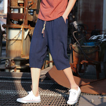2) summer linen pants pants mens Korean version of the trend of casual wild shorts six points loose pants 7 pants