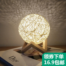 Creative ins lamp bedroom bedside table net Red Night Light Girl small lamp Moon Star projection dream sleep