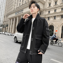 Net infrared set of male 2020 new spring handsome ins tide Hong Kong wind wild Korean version of the trend of spring baseball jacket