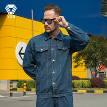 Winter denim overalls suit male electrician clothing National Grid cattle wear multi-pocket power company