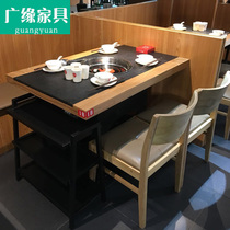 Burning Stone hot pot Table Marble theme Restaurant Induction cooker integrated smokeless hot pot table and chair combination customization