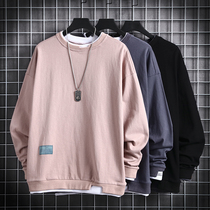 ins loose round neck fake two-piece long sleeve thick fleece sweater men 2019 autumn and Winter new trend tops men