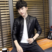 2018 mens Korean casual slim handsome leather clothing youth fashion short paragraph pu leather jacket mens shirt