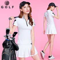 19 new golf clothes clothing womens summer golf suit female golf Korean short-sleeved anti-light skirt