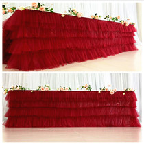 Wedding sign Taiwan Pompon yarn table skirt table Wai yarn wedding dessert Taiwan birthday party party table cloth layout