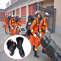 Rescue boots fire shoes leather personal protective equipment Black Belt report rescue boots anti-smashing