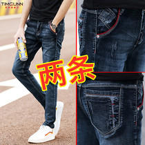 2019 spring and autumn models Korean version of the Tide brand slim black jeans mens autumn New feet denim trousers